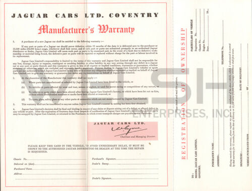 United States Version Vintage 1964 Jaguar Manufacturer/'s Warranty Card