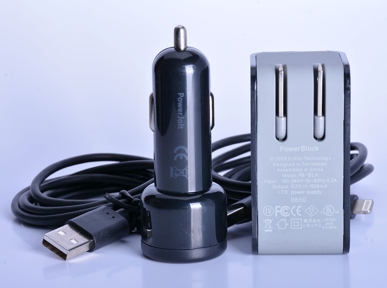 Griffin Car Charger: Griffin PowerBlock Home Adapter+Car Charger W/2x Lighting