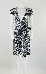 Diane Von Furstenberg Sz 2 Antonio Wrap Dress Blue Rayon Leaf Print V Neck    BR