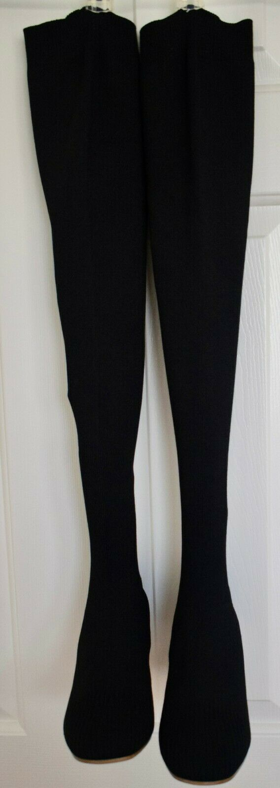 Proenza Schouler Lamy Knit Over-The-Knee Boots with Metal Heels, Black, Size 7.5