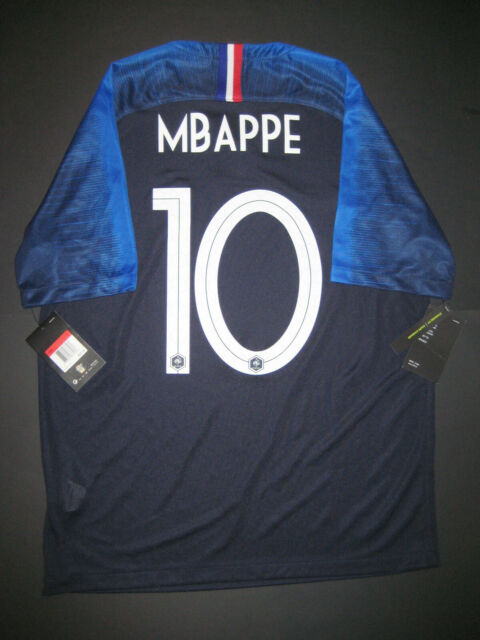 45df87c6 2018-2019 Nike Authentic France Kylian Mbappe Breathe Home Jersey Shirt Kit