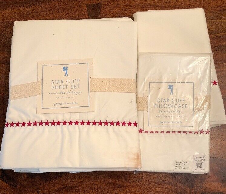 POTTERY BARN KIDS STAR CUFF TWIN SHEET SET BRAND NEW WITH TAGS