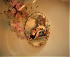 "Vintage Germany ""Fragonard"" Cameo~30X40mm Lucite Button Brass Set~  ^..^"