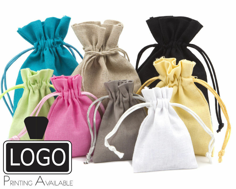 High Quality Cotton Linen Gift Pouch Gift Bags with Cotton Drawstring 8 Colours