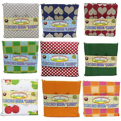 Set 8 cuscini sedia 40x40 spessore 5cm,Trapuntati al centro,varie fantasie | eBay