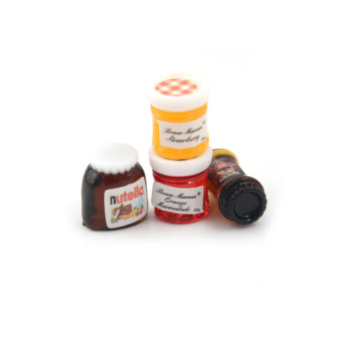 4pcs//set Dollhouse Miniature 1:12 Kitchen Food Jam Coffee Condiment DIY Decor`US