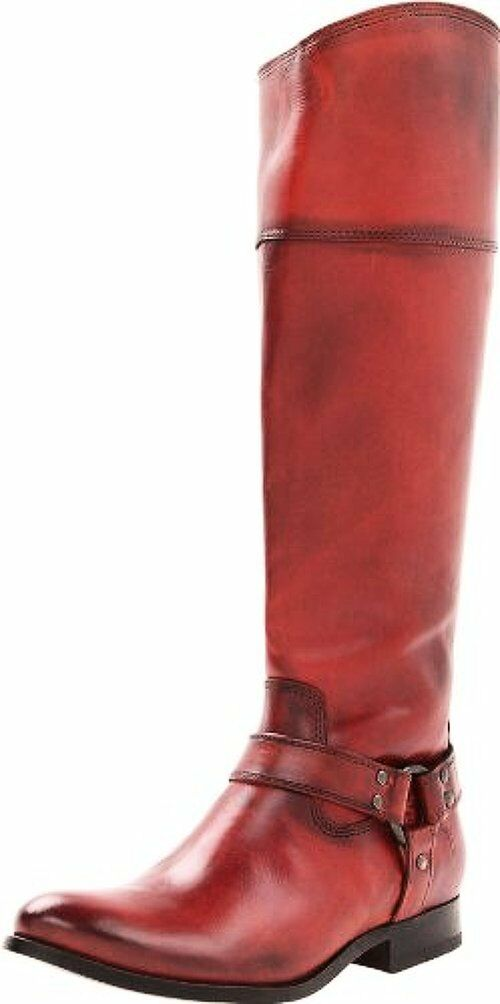 FRYE Frye Womens Melissa Harness Inside Zip Burnt Red Soft Vintage Leather Boot