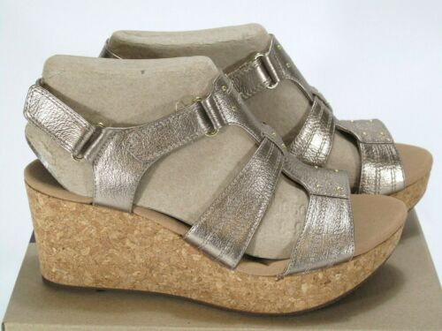 Clarks Womens Annadel Orchid Wedge Sandal Gold Leather Size 10 Medium
