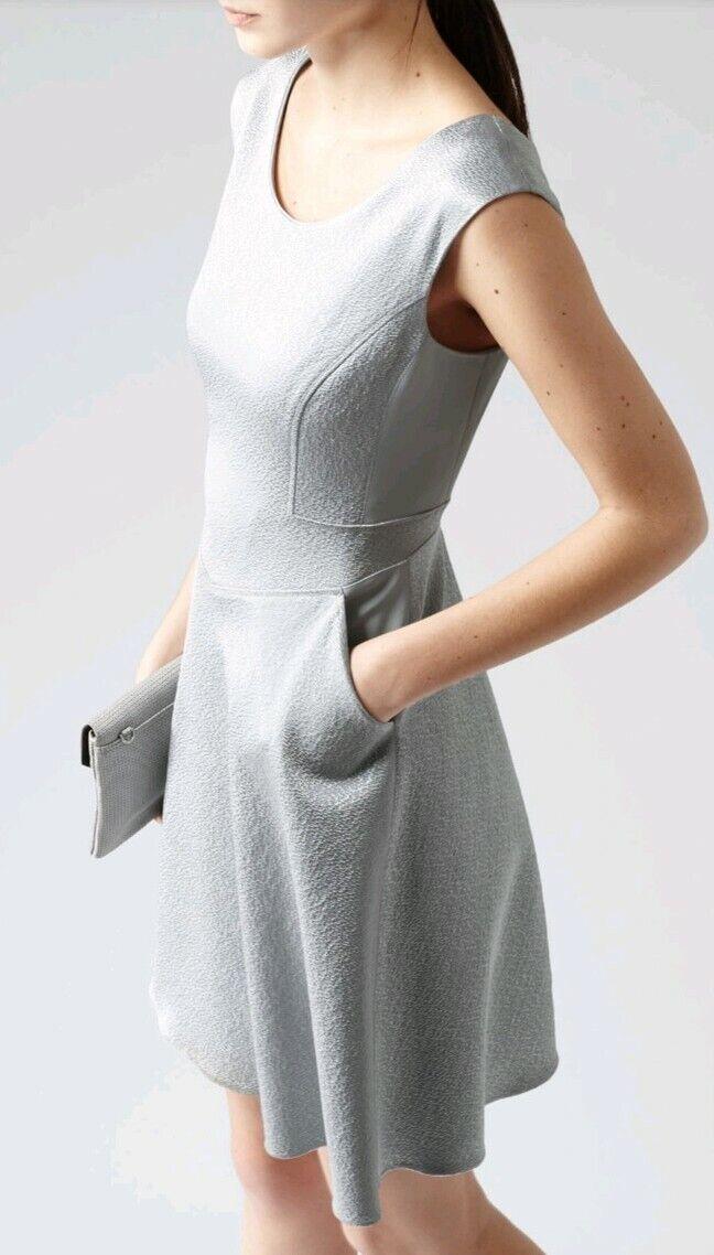 Designer REISS Cole Fit & Flare Robe Taille 8 -- utilisé une fois -- argent avec poches