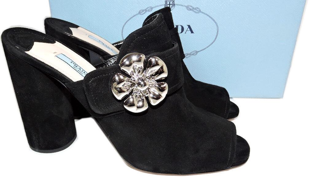 890 Prada Flor rojoonda Peep Toe Toe Toe Negro Gamuza Zapato De Mulas Sandalia Charol 40  oferta de tienda