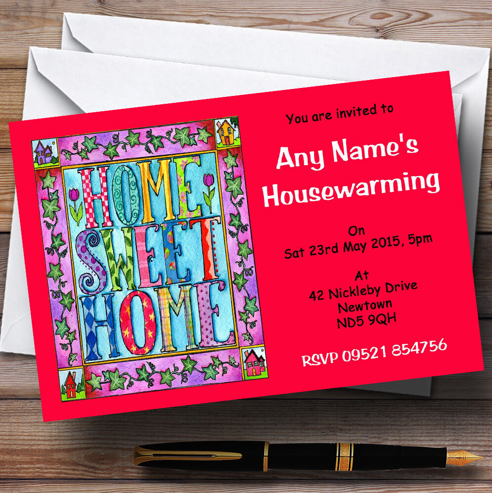 Red home home home sweet home crémaillère party invitations personnalisées e984e6