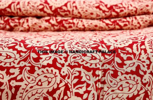 "Indian Cotton Fabric 44/"" Wide Maroon Beige Paisley Print Craft Sewing By 5 Yard"