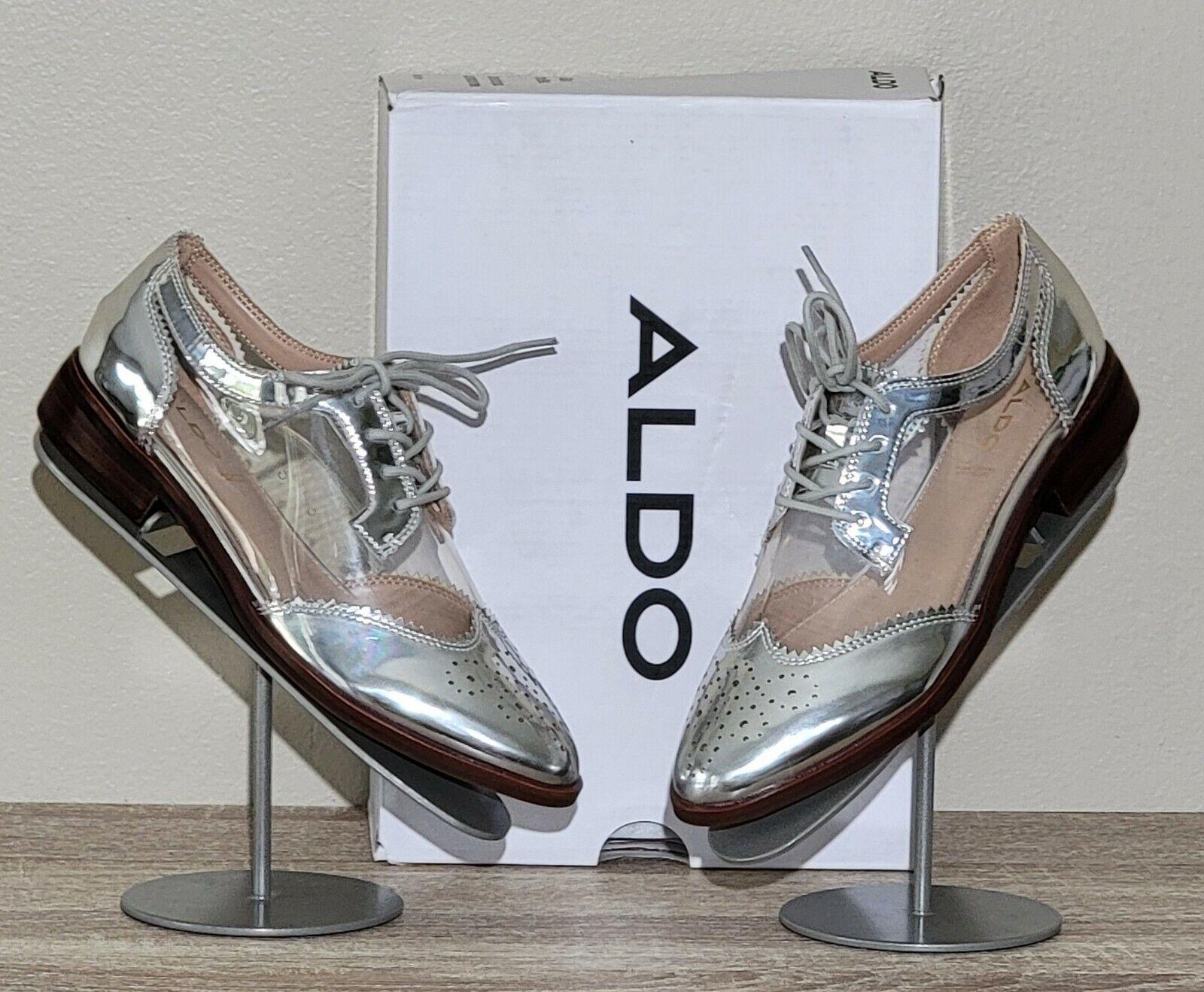 New in Box ALDO Womens POLKA Oxford lace shoe - Silver / Clear Size 6