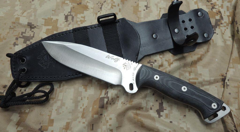 J&V Adventure Knives WOLF MICARTA Messer Fahrtenmesser 4116 Stahl Lederscheide