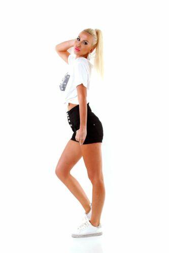 11113 Knackige Damen Shorts Hotpants Stretch Hose High-Waist Metallknöpfe