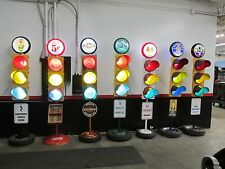 Large Traffic Light Gas Pump Globe Sign Pole Harley Coke OK Cars Corvette