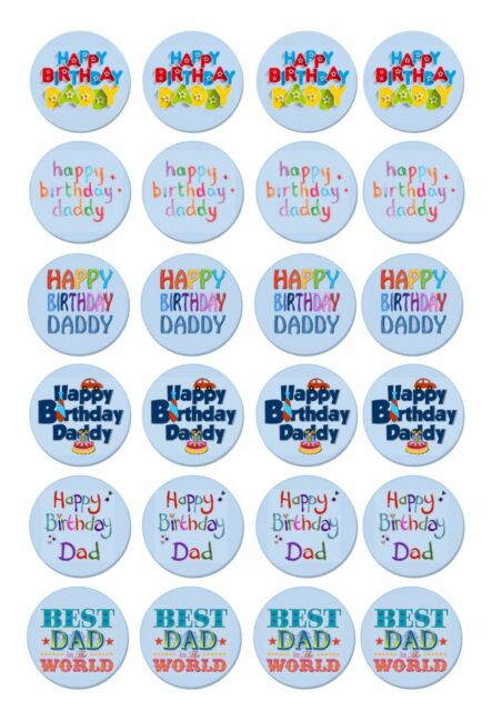 24 Icing Cake Toppers Decorations Fairy Bun Happy Birthday Dad Daddy