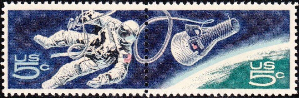 1967 5c Accomplishments in Space, Pair Scott 1331-32 Mi