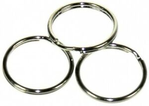 100-x-25mm-NICKEL-STEEL-SPLIT-RINGS-KEYRINGS-CONNECTOR-FINDINGS-CRAFTS