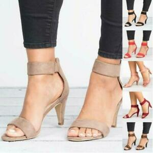 Lady Sandals High Heel Pumps Buckle Strap Summer Casual Party Shoes Size 6-10.5