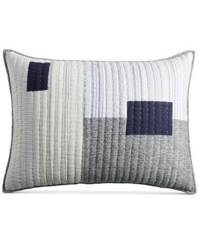Hotel Collection Patchwork Quilted Cotton/Linen STANDARD Sham $135 White G2313