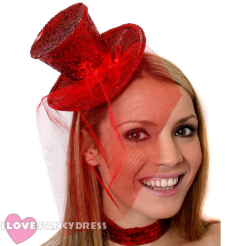 RED MINI GLITTER TOP HAT HEADBAND VEIL LADIES BURLESQUE PARTY FANCY DRESS