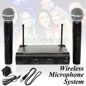 Dual WIRELESS CORDLESS MICROPHONE SYSTEM WITH WIRELESS UT4 TYPE MIC Party USA