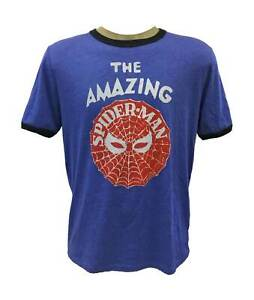 Marvel-Pixelated-The-Amanzing-Spider-Man-T-Shirt-Men-Heather-Blue-XL