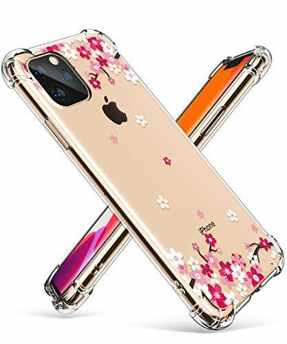 GVIEWIN IPhone 11 Pro Max Case Clear Flower Design Soft ...