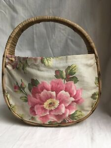 42c3b3242f688a Vintage 1940's Woven Straw Wicker Basket Purse Bag Fabric Flowers ...