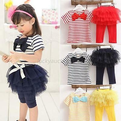 Cute Baby Kid Girl Tops Tee Shirt+Tulle Tutu Pant Skirt 2pcs Outfit Suit 2-7Y