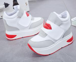 Womens Girls Trainers Platform Shoes Hidden Heel Running Sports Creeper Sz New01