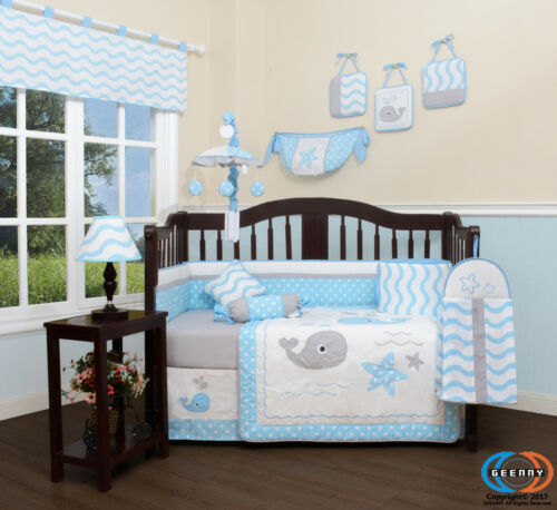 13PCS  Lovely Whale Baby Nursery Crib Bedding Sets  Holiday Special