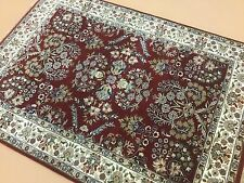 4 X 6 Red Ivory Sarouk Persian Oriental Area Rug Hand Knotted Traditional Floral