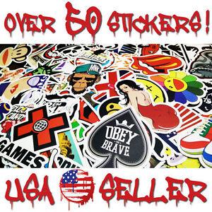 50-Random-Vinyl-Decals-Stickers-Vintage-Skateboard-Laptop-Car-Luggage-Dope-Lot