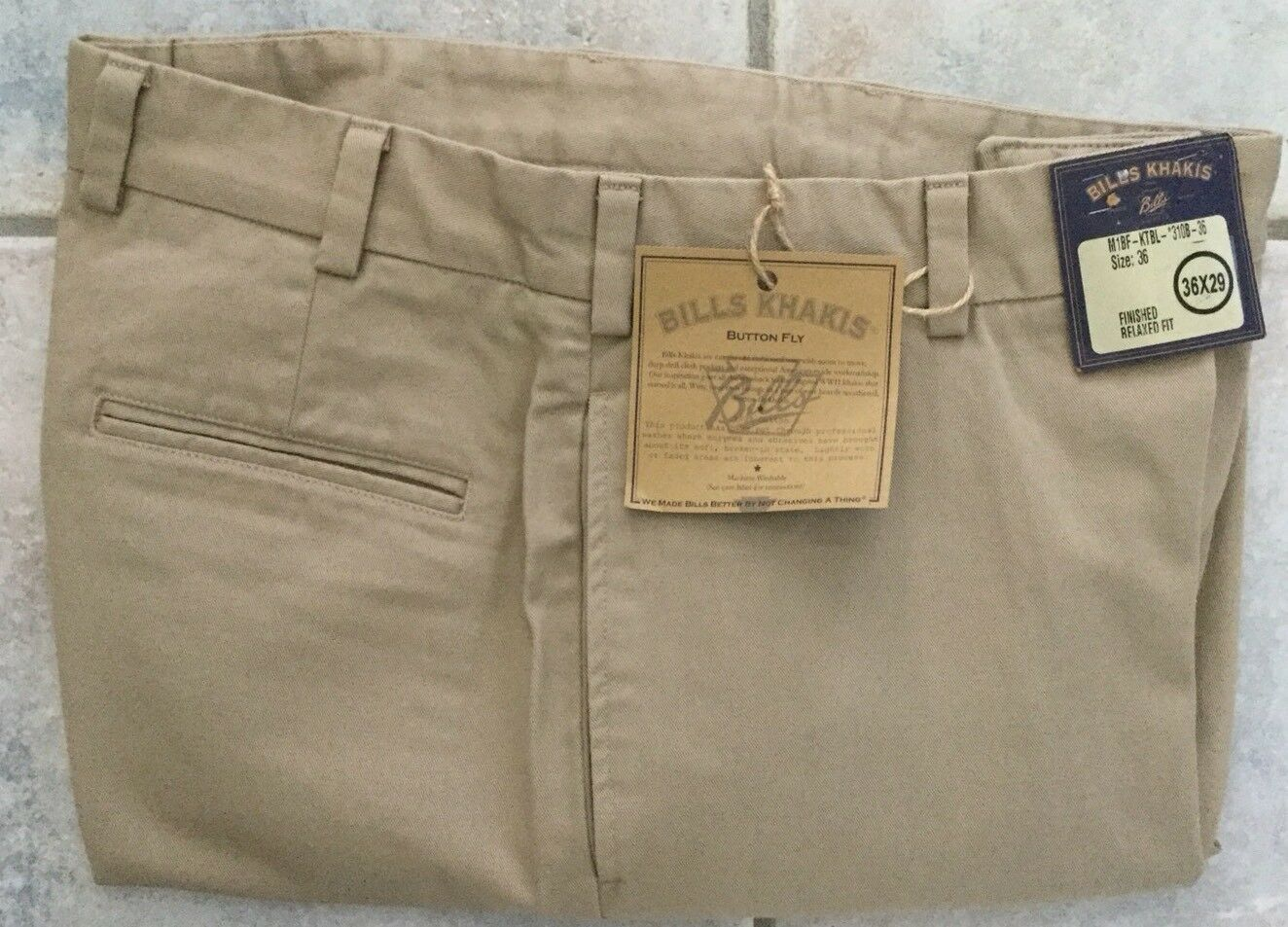 NWT-Bills khakis M1BF-KTBL Size 34x30 Button Fly RELAXED KHAKI MSRP