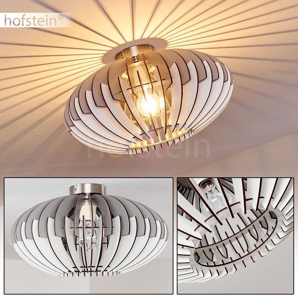 Decken Leuchte Wohn Schlaf Zimmer Lampe Flur Küchen Beleuchtung Holz grau-weiß