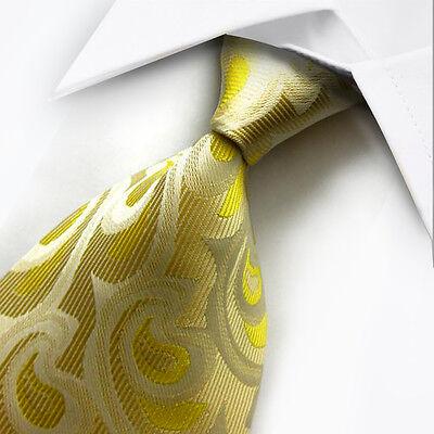 UK0045 Yellow Beige Foral New Silk Classic JACQUARD Woven Men's Tie Necktie