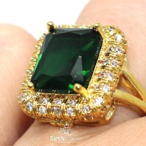 Sparkling-Cushion-Green-Emerald-Halo-Ring-Women-Jewelry-14K-Yellow-Gold-Plated