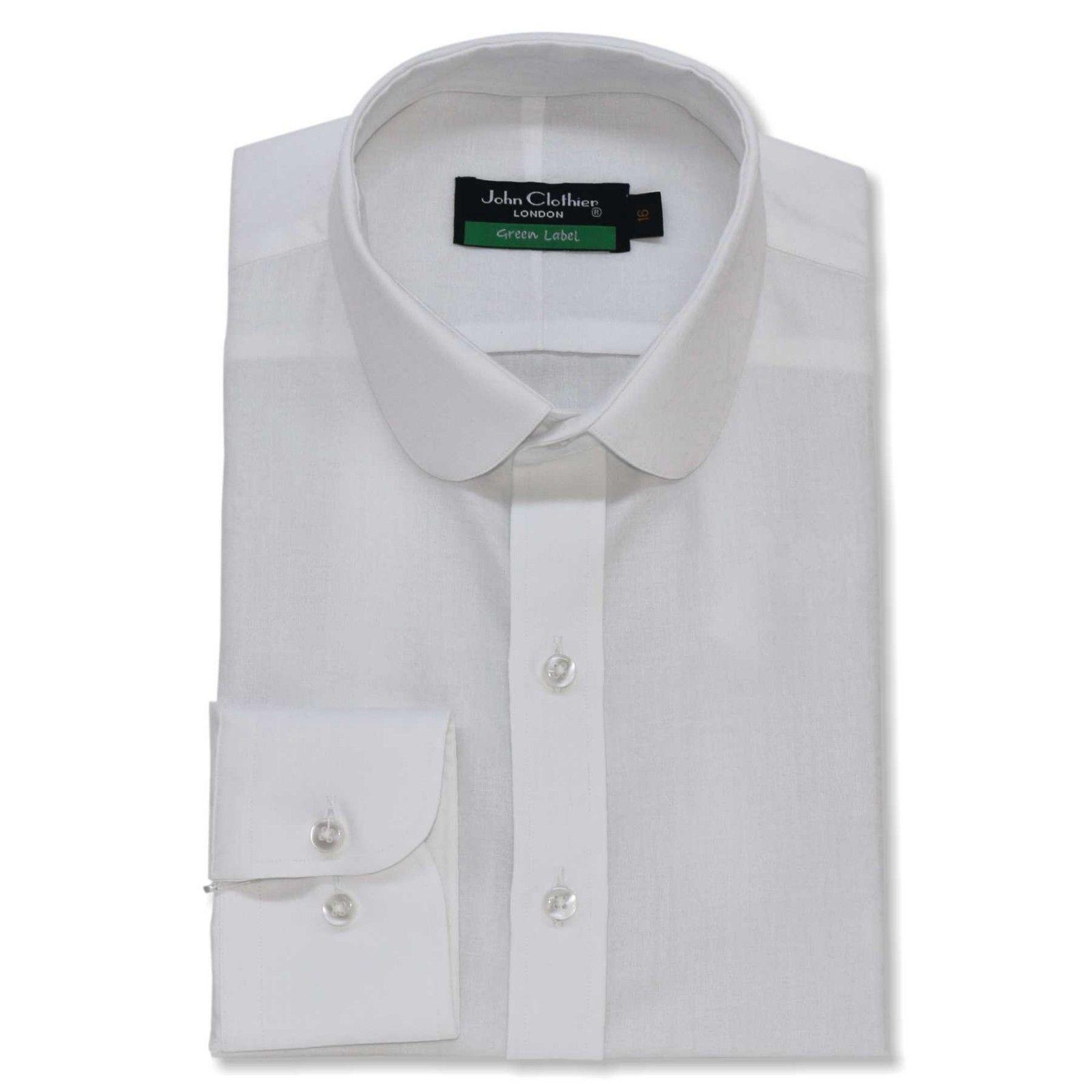 Peaky Blinders  Herren Penny collar Weiß floral jacquard shirt Round Grandad Round