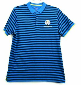 The-Ryder-Cup-Collection-Men-039-s-XL-2018-Blue-Short-Sleeve-Striped-Polo-Golf-Shirt