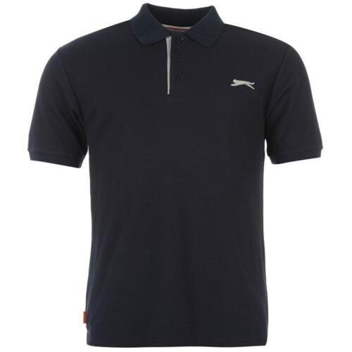 SLAZENGER Herren Polo Shirt Freizeit Kragen TShirt Fitness Sport Sommer Navy NEU