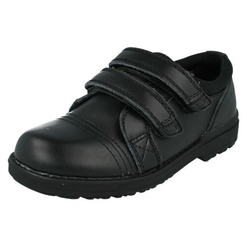 BOYS KIDS JCDEES RIPTAPE STRAP BLACK SMART SCHOOL SHOES N1052