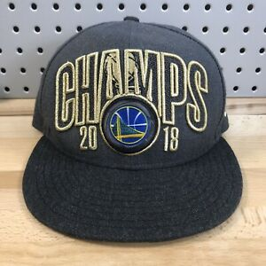 Golden-State-Warriors-NBA-Basketball-2018-Champs-Flat-Bill-Snap-Back-Hat-EUC-Cap