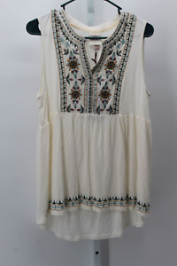 WOMEN-039-S-SLEEVELESS-EMBROIDERED-KNIT-TOP-KNOX-ROSE-IVORY-L-NEW-W-TAGS