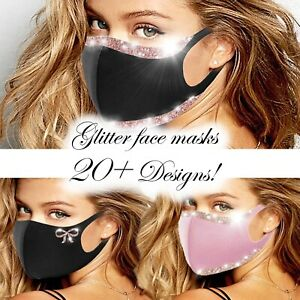 Fashion Face Mask Glitter Sparkly Bling Washable Reusable Designer Covering AU