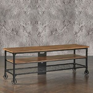 rustic tv stand entertainment center industrial media console table wood cart 65. Black Bedroom Furniture Sets. Home Design Ideas