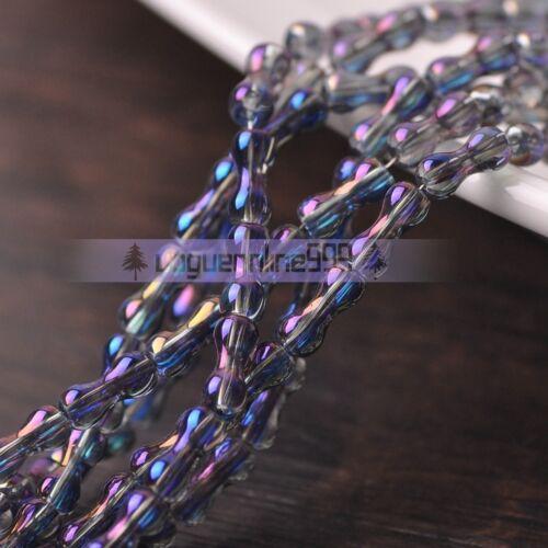 "1Strand 22/"" Hourglass//Bone Shape Crystal Glass Spacer Beads Jewelry DIY 8x3.5mm"