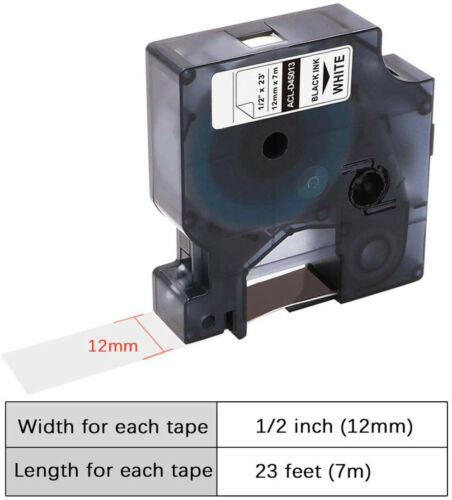 D1 Label Tape 45013 S0720530 Black on White 12mm x 7m for Dymo Label Manager 160