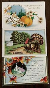 Colorful-Lot-of-3-Vintage-Thanksgiving-Turkey-Pumpkin-Postcards-Antique-s-340